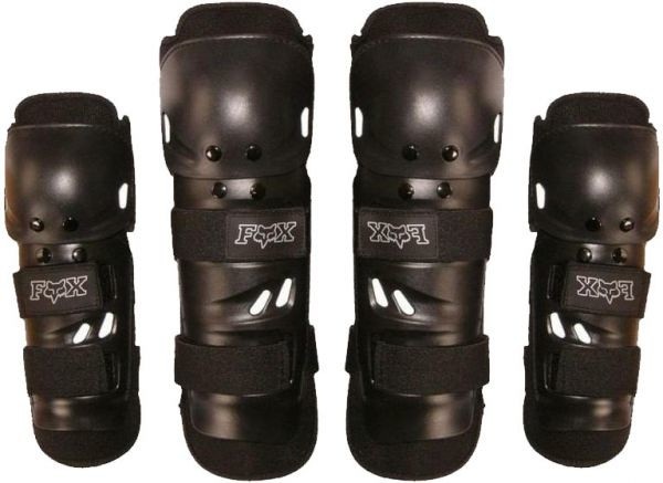 Fox - Protection - 2 Knees + 2 Elbows + 4 Shin Guards Protector Pads (8 Pieces) Safety Protection